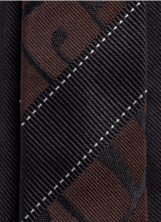 Detail View - Click To Enlarge - Dries Van Noten - Stripe and curlicue jacquard silk tie