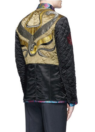 Back View - Click To Enlarge - Dries Van Noten - Reversibile peacock jacquard embroidered badge jacket