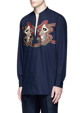 Front View - Click To Enlarge - Dries Van Noten - Face embroidery cotton poplin shirt