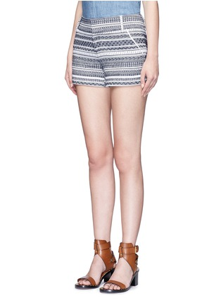 Front View - Click To Enlarge - alice + olivia - 'Cady' nautical stripe cotton shorts