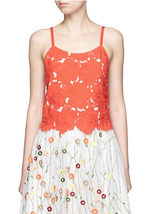 Main View - Click To Enlarge - alice + olivia - 'Alanis' floral embroidery cutwork camisole