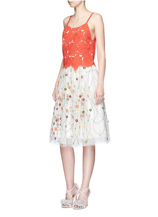 Figure View - Click To Enlarge - alice + olivia - 'Alanis' floral embroidery cutwork camisole