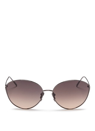 Main View - Click To Enlarge - LINDA FARROW - Titanium cat eye sunglasses