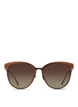 Main View - Click To Enlarge - Linda Farrow - Inset rim oversize aluminium sunglasses