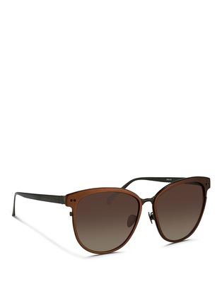 Figure View - Click To Enlarge - Linda Farrow - Inset rim oversize aluminium sunglasses