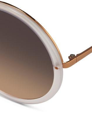 Detail View - Click To Enlarge - Linda Farrow - Round titanium temple acetate sunglasses