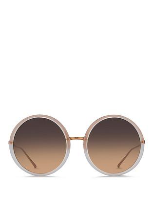 Main View - Click To Enlarge - Linda Farrow - Round titanium temple acetate sunglasses