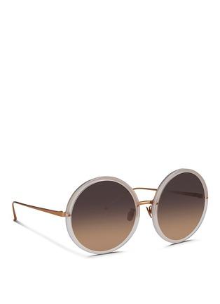 Figure View - Click To Enlarge - Linda Farrow - Round titanium temple acetate sunglasses