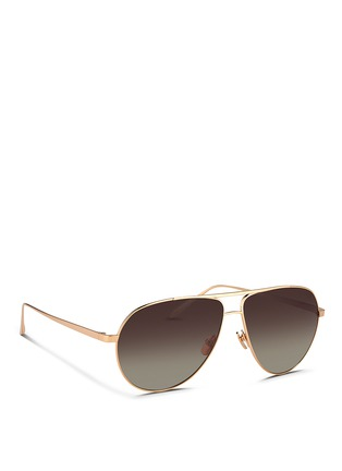 Figure View - Click To Enlarge - Linda Farrow - Contrast bridge titanium aviator sunglasses