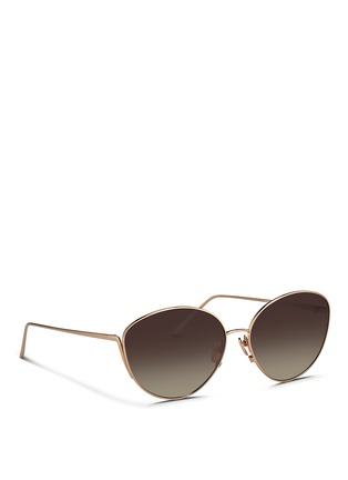 Figure View - Click To Enlarge - Linda Farrow - Titanium cat eye sunglasses