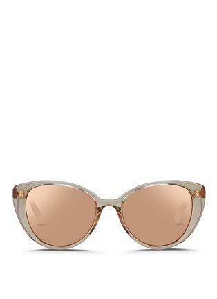 Main View - Click To Enlarge - Linda Farrow - Acetate cat eye mirror sunglasses