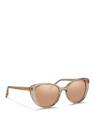 Figure View - Click To Enlarge - Linda Farrow - Acetate cat eye mirror sunglasses