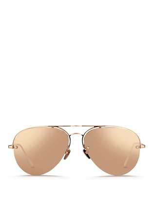 Main View - Click To Enlarge - Linda Farrow - Half rim titanium aviator mirror sunglasses