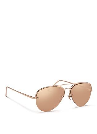 Figure View - Click To Enlarge - Linda Farrow - Half rim titanium aviator mirror sunglasses