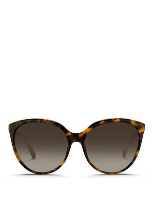 Main View - Click To Enlarge - Linda Farrow - Tortoiseshell acetate oversize cat eye sunglasses
