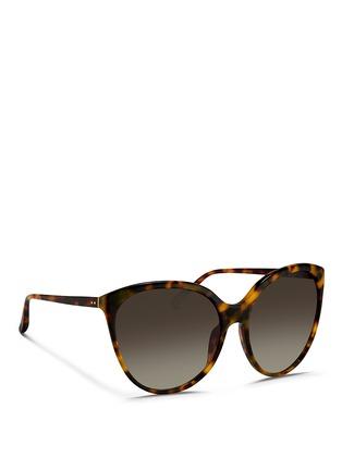 Figure View - Click To Enlarge - Linda Farrow - Tortoiseshell acetate oversize cat eye sunglasses