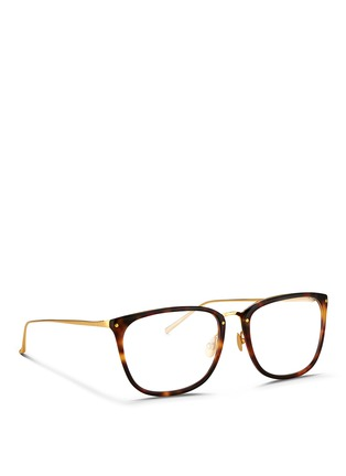 Figure View - Click To Enlarge - Linda Farrow - Titanium temple tortoiseshell effect acetate optical glasses