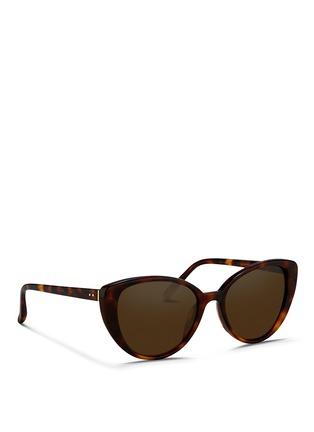 Figure View - Click To Enlarge - Linda Farrow - Tortoiseshell effect acetate cat eye sunglasses