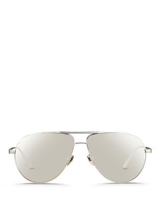 Main View - Click To Enlarge - Linda Farrow - Contrast bridge titanium aviator sunglasses