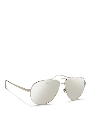 Figure View - Click To Enlarge - Linda Farrow - Contrast bridge titanium aviator sunglasses