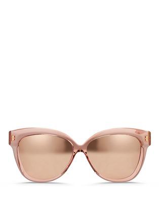 Main View - Click To Enlarge - Linda Farrow - Transparent acetate cat eye mirror sunglasses
