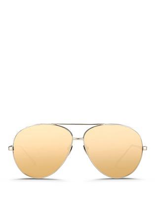 Main View - Click To Enlarge - LINDA FARROW - Titanium aviator sunglasses