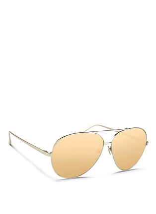Figure View - Click To Enlarge - LINDA FARROW - Titanium aviator sunglasses