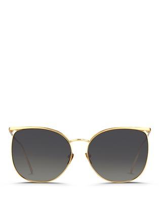 Main View - Click To Enlarge - Linda Farrow - Titanium D-frame sunglasses