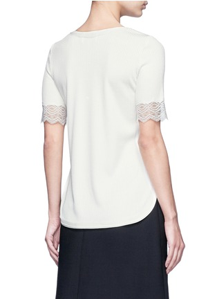 Back View - Click To Enlarge - 3.1 Phillip Lim - Raw lace cuff rib knit T-shirt