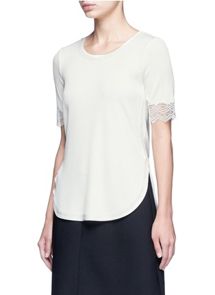 Front View - Click To Enlarge - 3.1 Phillip Lim - Raw lace cuff rib knit T-shirt