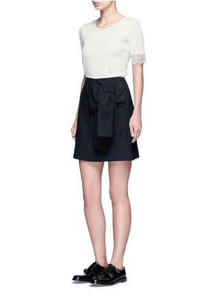 Figure View - Click To Enlarge - 3.1 Phillip Lim - Raw lace cuff rib knit T-shirt
