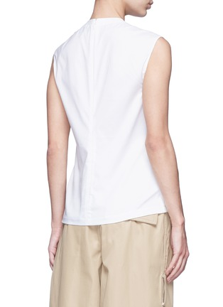 Back View - Click To Enlarge - 3.1 Phillip Lim - Button neck poplin rib knit combo sleeveless top