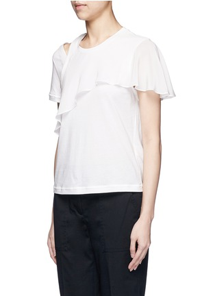 Front View - Click To Enlarge - 3.1 PHILLIP LIM - Ruffle overlay cutout T-shirt