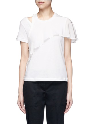 Main View - Click To Enlarge - 3.1 PHILLIP LIM - Ruffle overlay cutout T-shirt