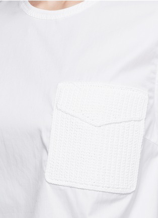 Detail View - Click To Enlarge - 3.1 PHILLIP LIM - Crochet knit pocket poplin top