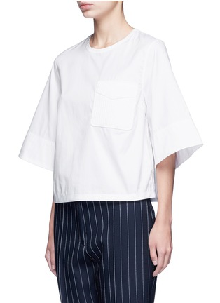 Front View - Click To Enlarge - 3.1 PHILLIP LIM - Crochet knit pocket poplin top