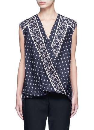 Main View - Click To Enlarge - 3.1 Phillip Lim - Scarf print surplice front sleeveless silk top