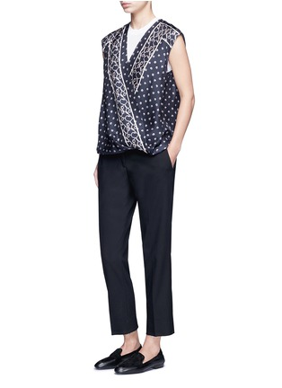 Figure View - Click To Enlarge - 3.1 Phillip Lim - Scarf print surplice front sleeveless silk top