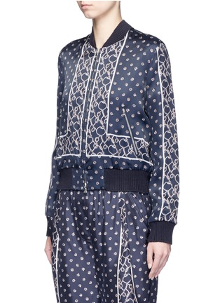 Front View - Click To Enlarge - 3.1 Phillip Lim - Friendship knot foulard print satin bomber jacket