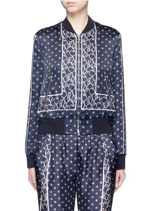 Main View - Click To Enlarge - 3.1 Phillip Lim - Friendship knot foulard print satin bomber jacket