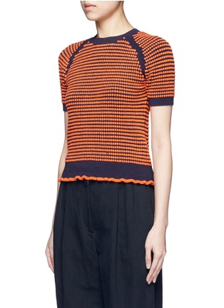 Front View - Click To Enlarge - 3.1 Phillip Lim - Polka dot bouclé ruffle knit top