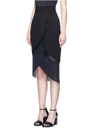 Front View - Click To Enlarge - 72723 - Macramé fringe crepe skirt