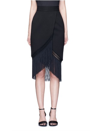 Main View - Click To Enlarge - 72723 - Macramé fringe crepe skirt