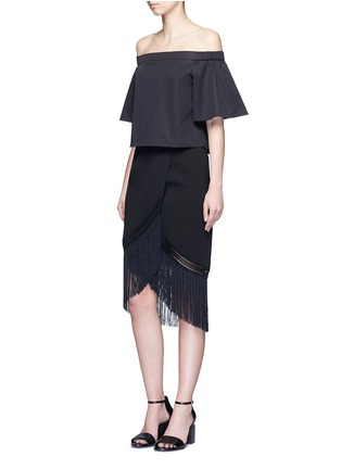 Figure View - Click To Enlarge - 72723 - Macramé fringe crepe skirt