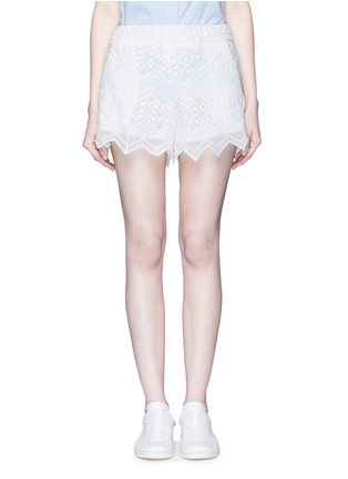 Main View - Click To Enlarge - Nicholas - Zigzag edge geometric lace cotton shorts