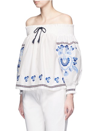 Front View - Click To Enlarge - Nicholas - Floral embroidery smocked off-shoulder top