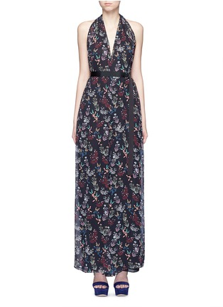 Main View - Click To Enlarge - 72723 - Garden floral print silk halter jumpsuit