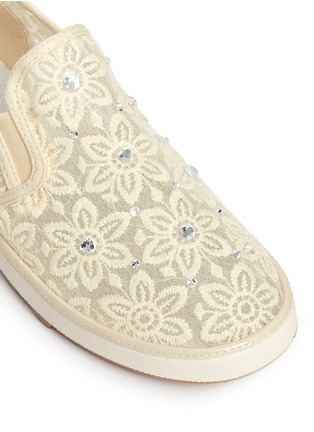 Detail View - Click To Enlarge - Stuart Weitzman - 'Ariana Slider' crystal appliqué embroidery kids slip-ons