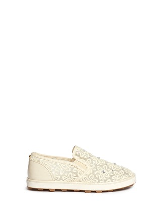 Main View - Click To Enlarge - Stuart Weitzman - 'Ariana Slider' crystal appliqué embroidery kids slip-ons