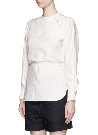 Front View - Click To Enlarge - Isabel Marant - Sash tie asymmetric silk shirt top
